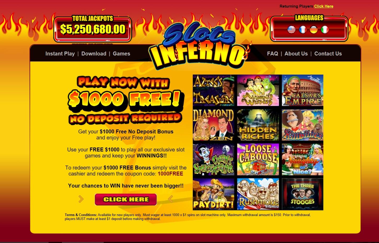 slots inferno no deposit bonus codes 2017