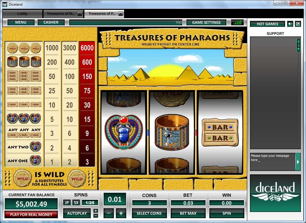 Game Review Treasure of Pharaohs 1 Line