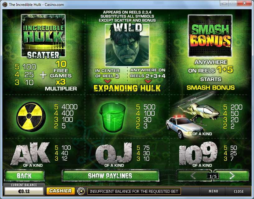 The hulk slots bonus game
