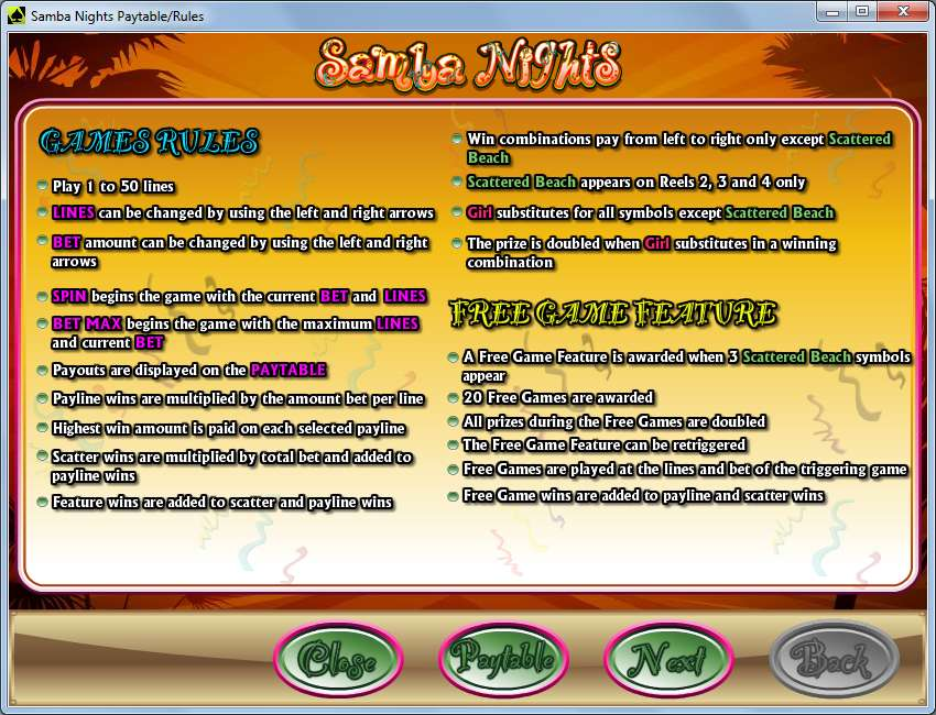Game Review Samba Nights