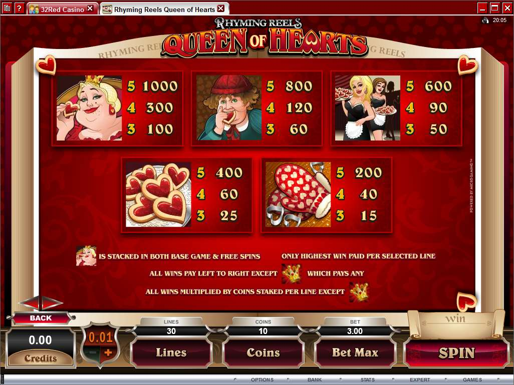 Game Review Rhyming Reels - Queen of Hearts