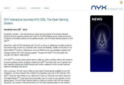 Update: Open Gaming System Launched by NYX Interactive