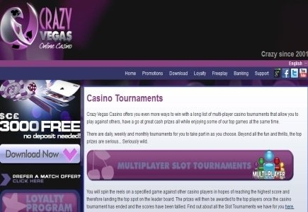 Crazy Vegas Casino announces exciting new 25,000 Freeroll!