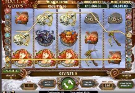 Finnish Player Hits €27,617 Hall of Gods Jackpot on 20 Cent Stake