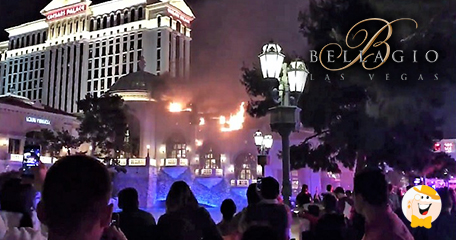 Tourists notice flames during bellagio fountain show